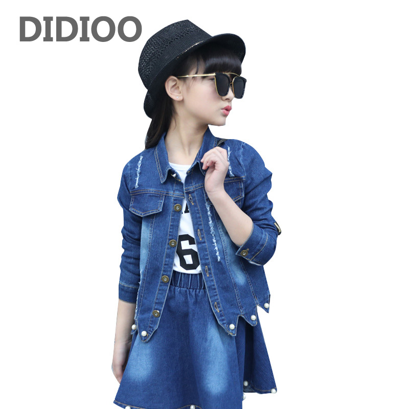 Denim Outfits for Girls Clothes Sets Kids Jeans Jackets & Skirts Suits Children Fall Girls Coat Bottom Clothing Sets 10 12 Years fashion autumn girl clothing sets denim outfits girls clothes sets jeans jackets shirt patchwork dress 2pcs suits with necklace