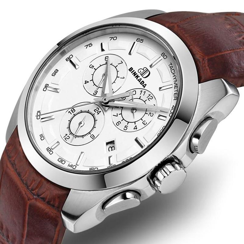 Męski automatyczny mechaniczny zegarek skórzany pasek - Męskie zegarki - Zdjęcie 2