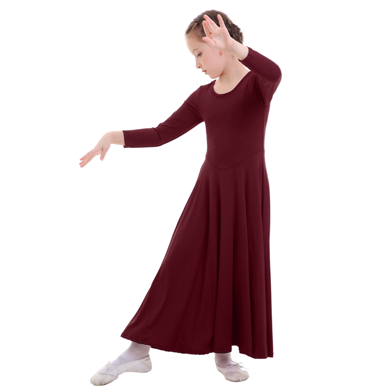 Winter New Praise Dance Dresses for Girls Liturgical Long Sleeve Pleated Long Girls Dress Kids Children Dancing Dress Dance Wear in Dresses from Mother Kids