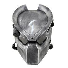 Alienígena vs predador solitário lobo máscara com lâmpada ao ar livre wargame tático máscara rosto cheio cs máscara festa de halloween cosplay máscara de horror