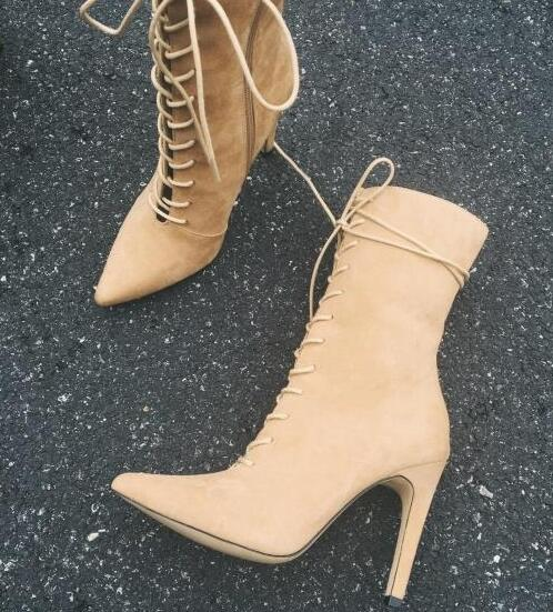 New fashion unique style high heel boots sexy pointed toe lace-up ankle boots 2017 cutouts thin heels boots army green nude цена