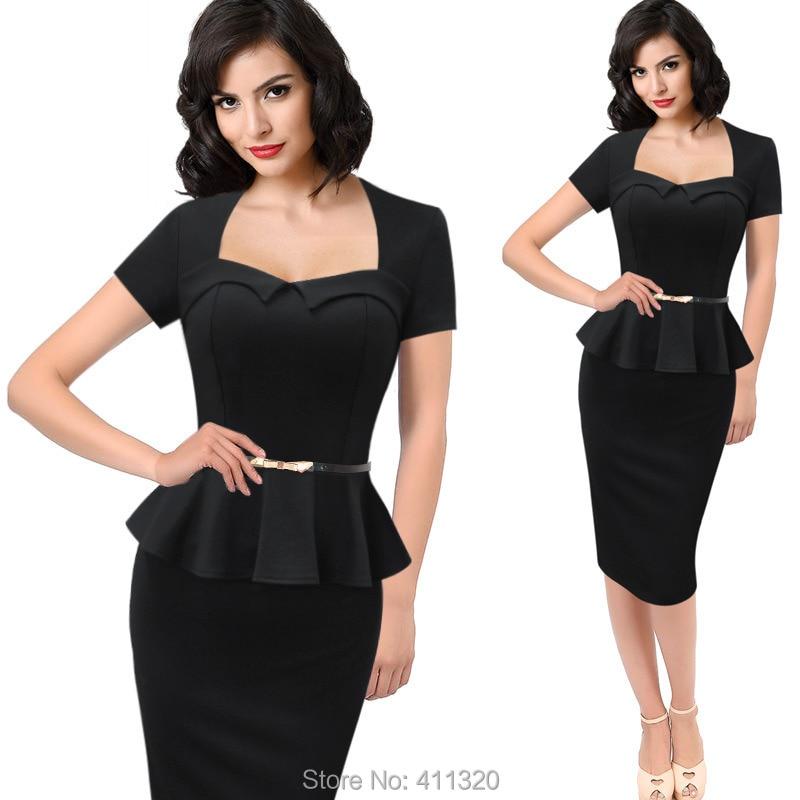 Womens Elegant Vintage Empire Formal Office Dress Polka Dots Patchwork Knee Length Pencil Bodycon Party Dresses Plus Size (2)