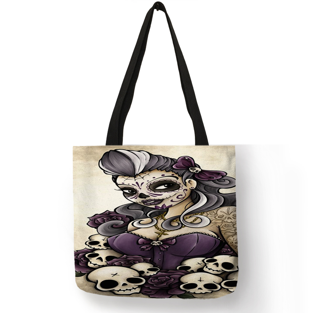 Exclusive Linen Tote Bag With Customized Skull Girl Print Day Of The Dead Halloween Reusable Shopping Bags Women Casual Handbags