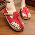 2017 Spring Summer Hollow Outs Women Flats Breathable Hemp Linen Beach Shoes For Women Shoes Casual Female Footwear SNE-186