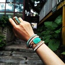Позолоченный Браслет из натурального амазонита, граненый браслет с большим камнем, кожаные браслеты в стиле бохо, 5 нитей, длинный браслет дружбы, Прямая поставка