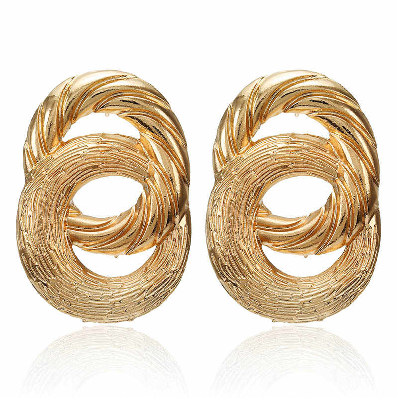Gold Polycyclic Metal Earrings For Women Za Bohemian Statement Jewelry Vintage Earrings Irregular Round Stud Earrings Brincos