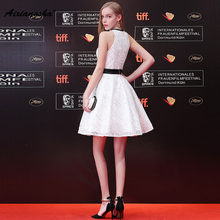 Elegant 2018 Halter Knee-Length With Belt A-Line White Slevessless Zipper Back Real Photo Customized Fashionable New Arrival