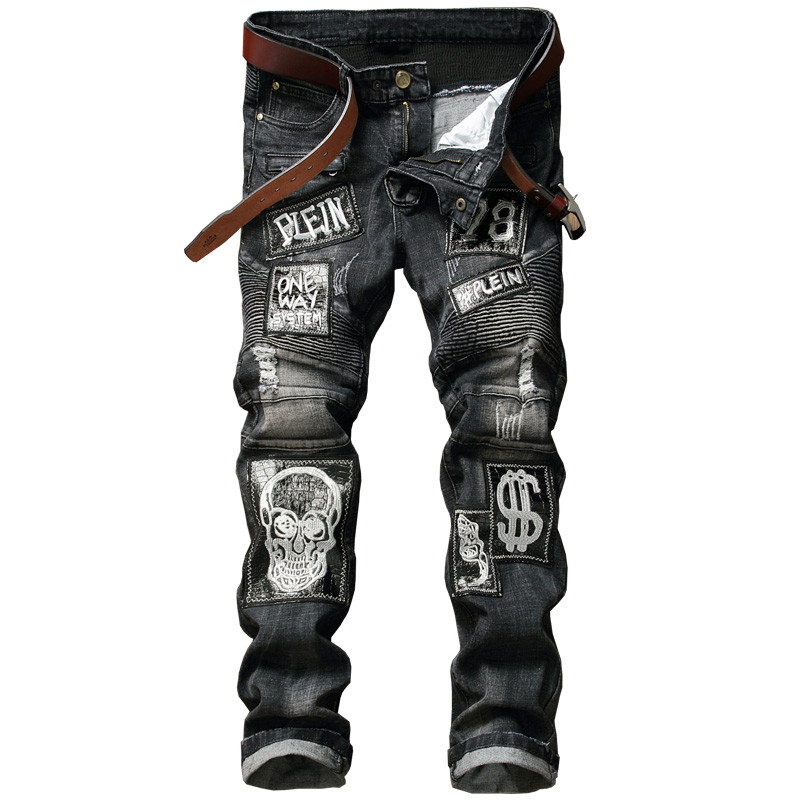 Hi-Street Mens Distressed Biker Jeans Skull Patchwork Fashion Pleated Ripped Denim Joggers Black Slim Fit Trousers With Patches 8