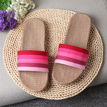Summer Home Slippers Flax Indoor Floor Shoes Soft Silent Slippers For Summer Women Sandals Slip On Slippers Couple Large Size 45 недорого