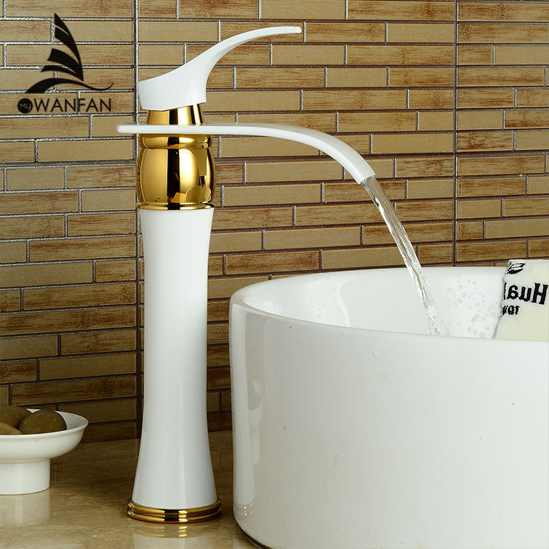 Basin Faucet Bathroom Waterfall Faucets Soild Brass Oil-Rubbed Bronze Water Tap Single Handle Gold Finish Mixer LH-16894 single handle white ceramic bathroom faucet single hole wash basin faucets bathroom tap chorm brass water faucet for bathroom