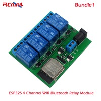 RCmall ESP32S 4 Channel Wifi Bluetooth Relay Module USB To TTL Female To Female Cable DC6V