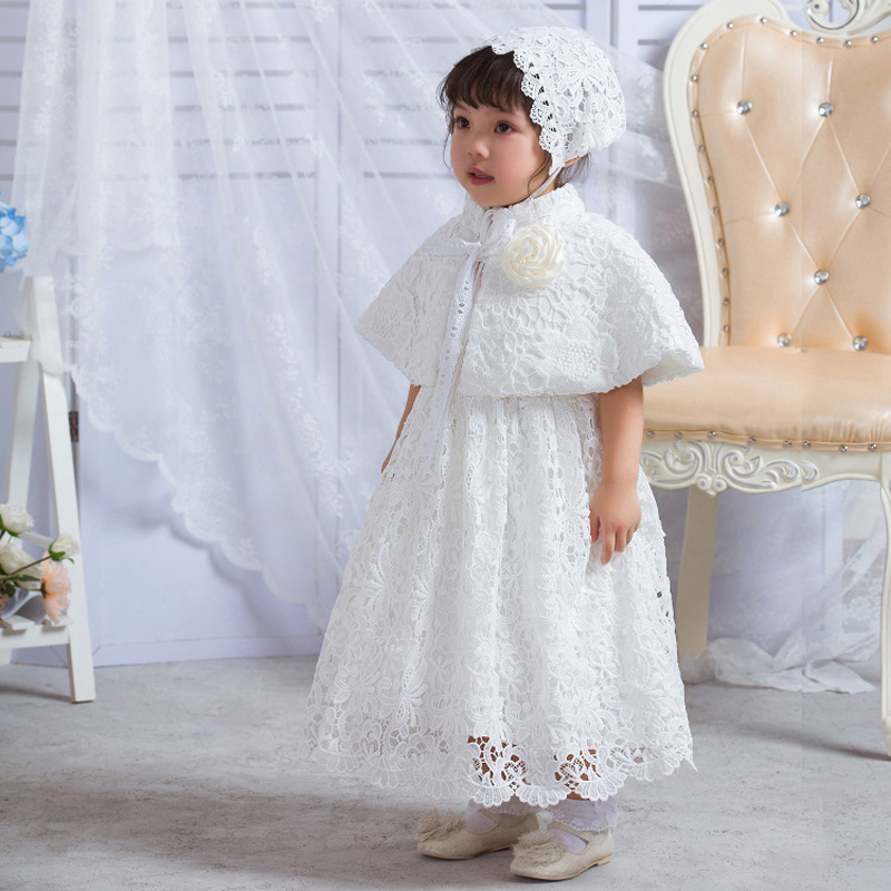 Baby Christening Long Gown White Lace Dress Newborn Infant Princess ...