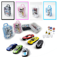 цены New Pattern Hot Sell Children's Toy Boys Simulated Alloy Car Model Scene Luggage Box Set Gifts Toys and Gifts