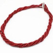 229bbf895c6d 4mm rojo coral artificial cuentas redondas collar mujeres moda partido  bodas regalos 4 filas Winding cadena joyería 18