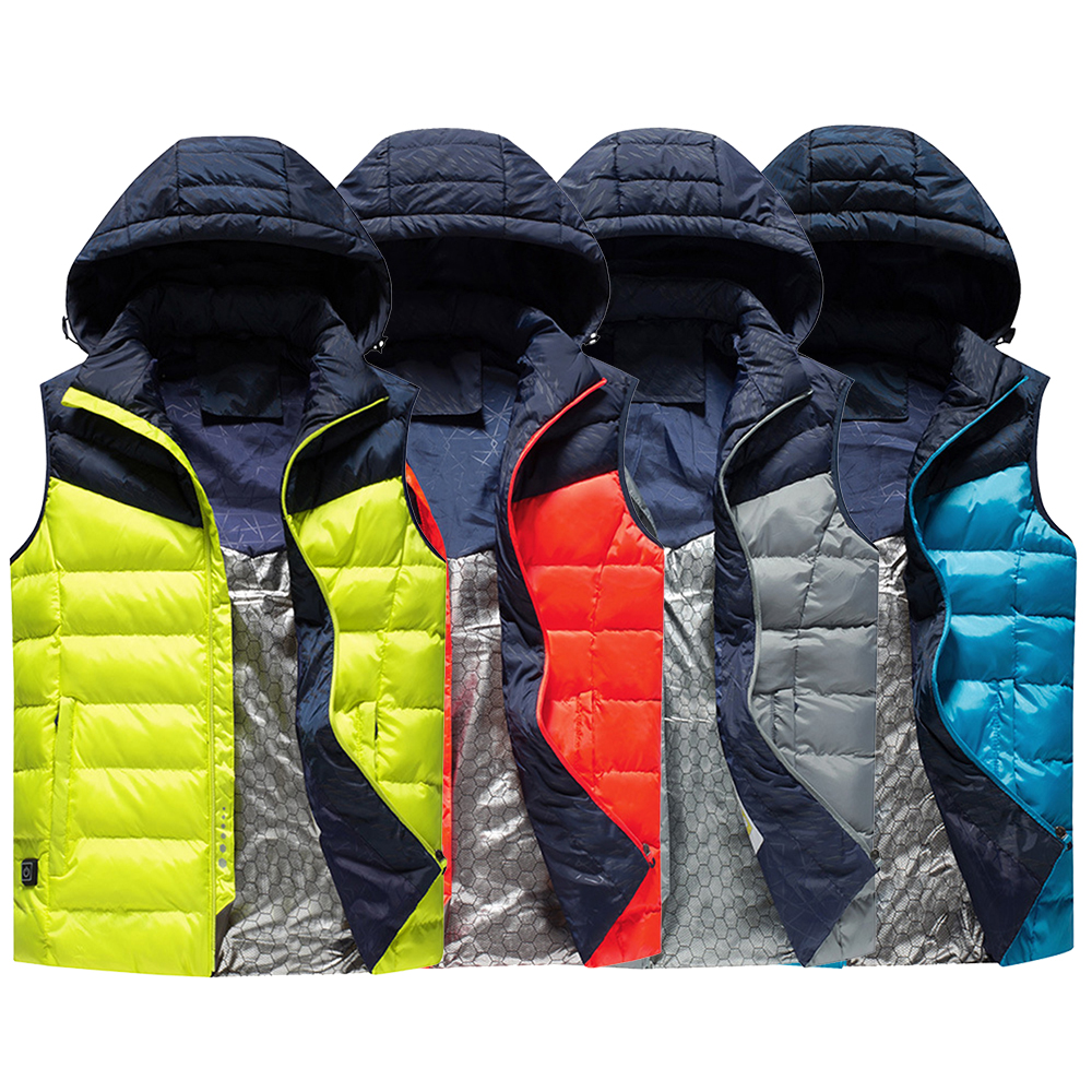 LAMBDA New Arrival Men Women Electric Heated Vest Heating Waistcoat Thermal Warm Clothing Feather Hot Sale Winter Jacket Hat