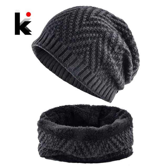 0a6e0e8125e8 Men's Hat And Scarf Sets Winter Knitted Thick Bonnet Caps Men Add Velvet  Beanies Hats Scarves