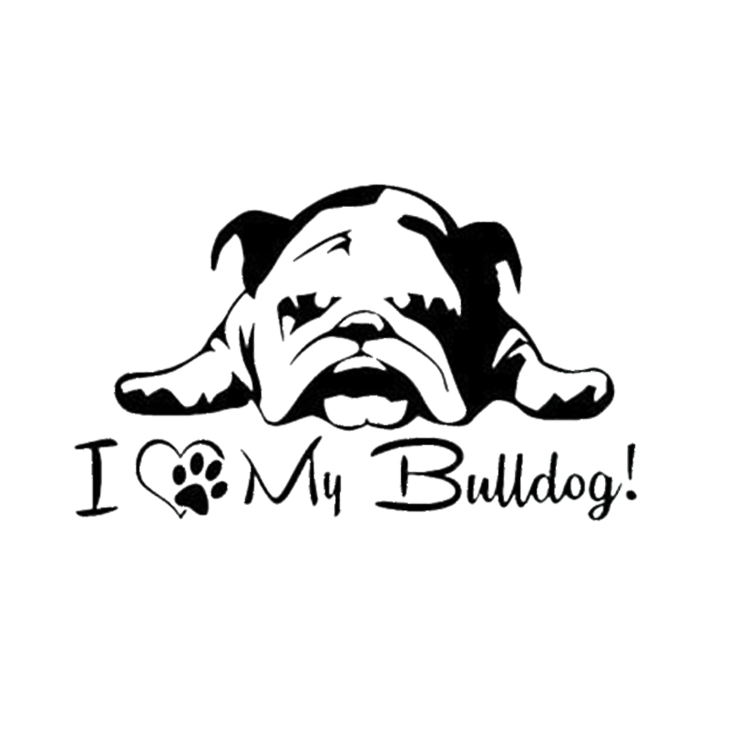 US $2 35 50% OFF|Car Styling For English French Bulldog Pet Dog Paws Love  Hearts Car Window Laptop Decal Sticker-in Car Stickers from Automobiles &