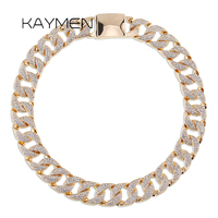 Kaymen Iced Out Bling Rhinestone Crystal Goldgen Finish Miami Cuban Link Chain Men's Hip hop Necklace Unisex Jewelry NK 01563