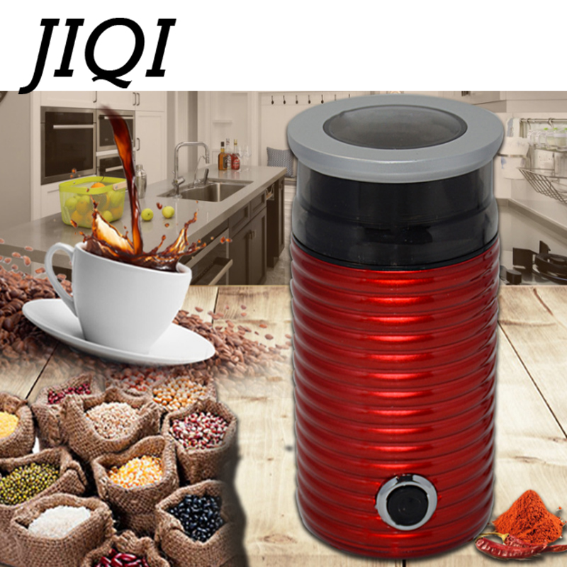JIQI Electric Coffee Grinder Stainless steel Mini Cafe Bean Grinding Machine Grain Miller Herb Nuts Pulverizer Powder Crusher EU цена и фото
