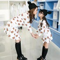 Madre e Hija Vestido 2016 Otoño Vestidos de Madre E Hija Madre e Hija Ropa de Moda T Shirt + Skirt 2 Unids/lote precioso