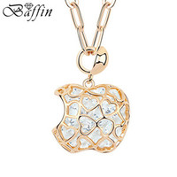 Retro Vintage Rope Long Chain Collier Crystal Hollow Apple Pendants Necklace Gold Filled Jewelry