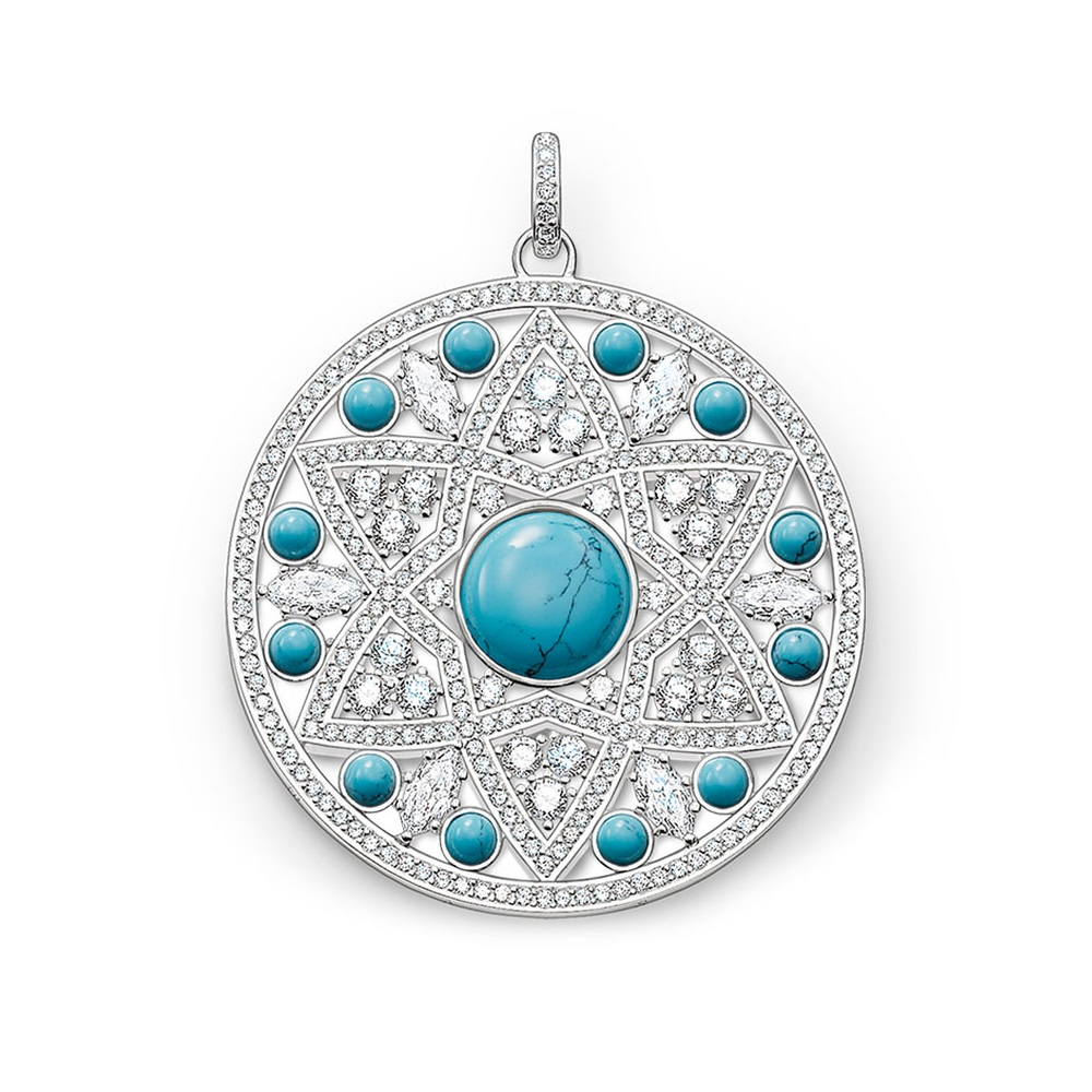 Белый и синий CZ орнамент Большой Подвески для дисков для женщин девочек новый Glam 925 пробы серебро модные украшения подарок Fit Ожерелья