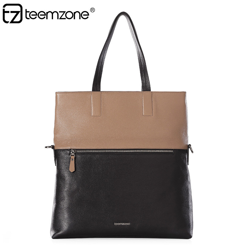 teemzone New Brand Super Quality (top gain cowskin) Soft Leather Hot Street Style Men Handbags Day Clutch Top-Handle Bags JJ40