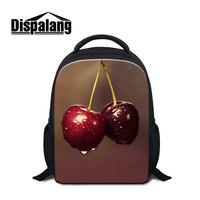 Dispalang frutos cereja prints mochilas para as meninas crianças 12 polegada escola sacos mochila multifuncional para crianças bagpack