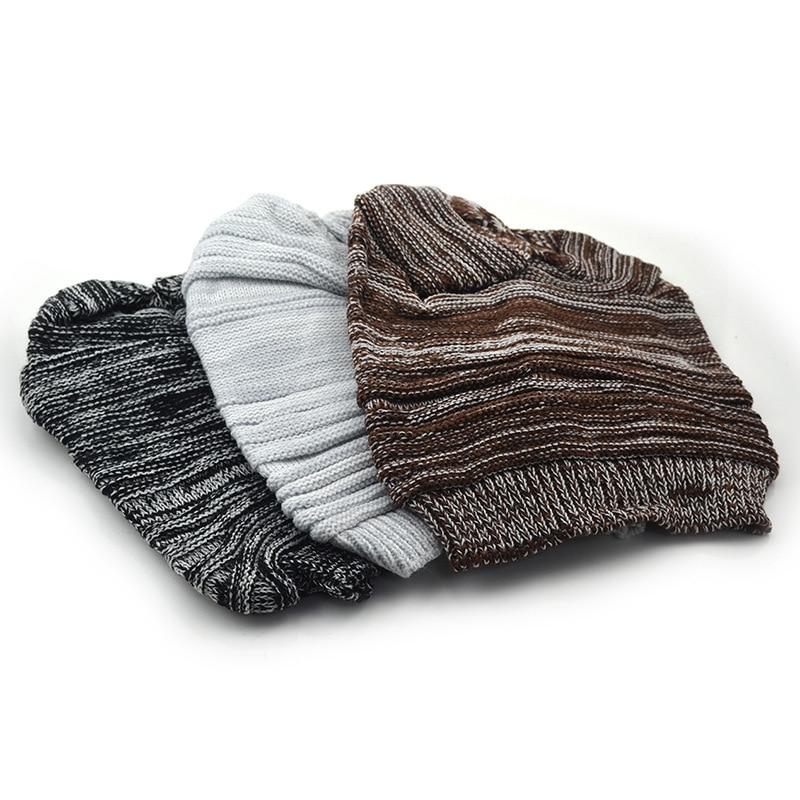 Solid Design Skullies Bonnet Winter Hats For Women Men Beanie Men's Faux Fur Warm Baggy Knitted Winter Hat Caps color matching skullies