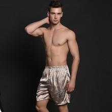 Men Faux Silk Sleep Bottoms Shorts Casual Breathable Underwear Lounge Trousers Pajamas Loungewear Sleepwear Pants 200-A289