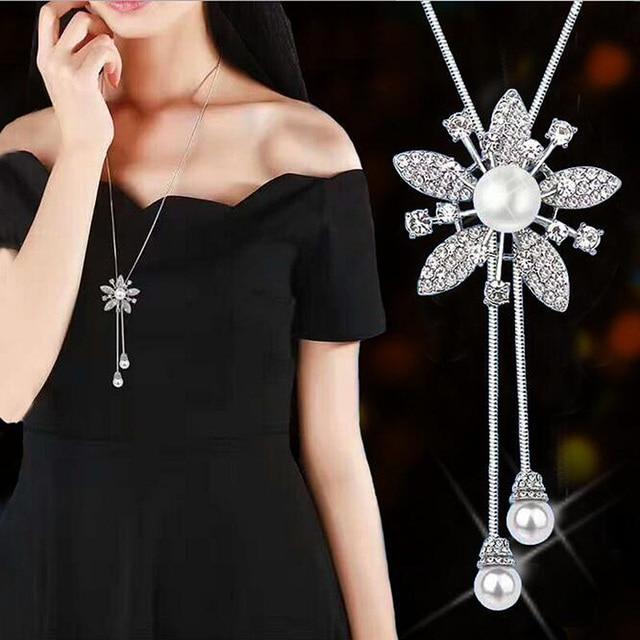 RAVIMOUR Simulé Perle de Foulard Colliers pour Femmes Couleur Argent À Longue Chaîne Collier Pendentif Bijoux Accessoires À La Mode Kolye 5