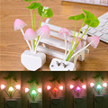 Lovely  LED Night Light ColofulChangeLight Sensor Mushroom Flower Plant Potted Night Light For Baby Kids Children Feeding Wall