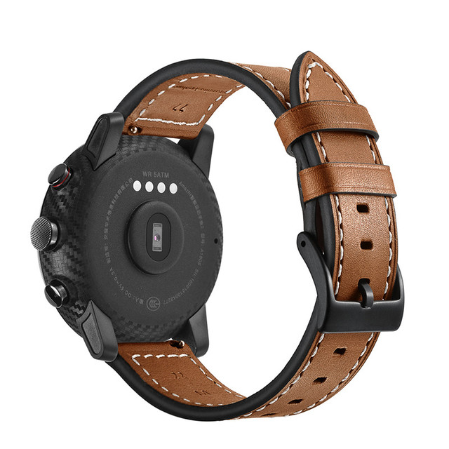 SIKAI 22mm Genuine Leather Watch Band Bracelet For Huami Amazfit Stratos 2 Strap Smartwatch Band Strap 22mm Smart Watch Bands