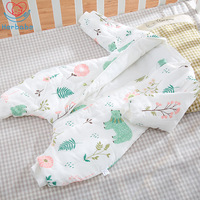 Herbabe Baby Sleeping Bag Legs 100% Muslin Cotton Sleep Sack Spring AutumnSoft Cartoon Sleepsacks For Children Newborn Pajamas
