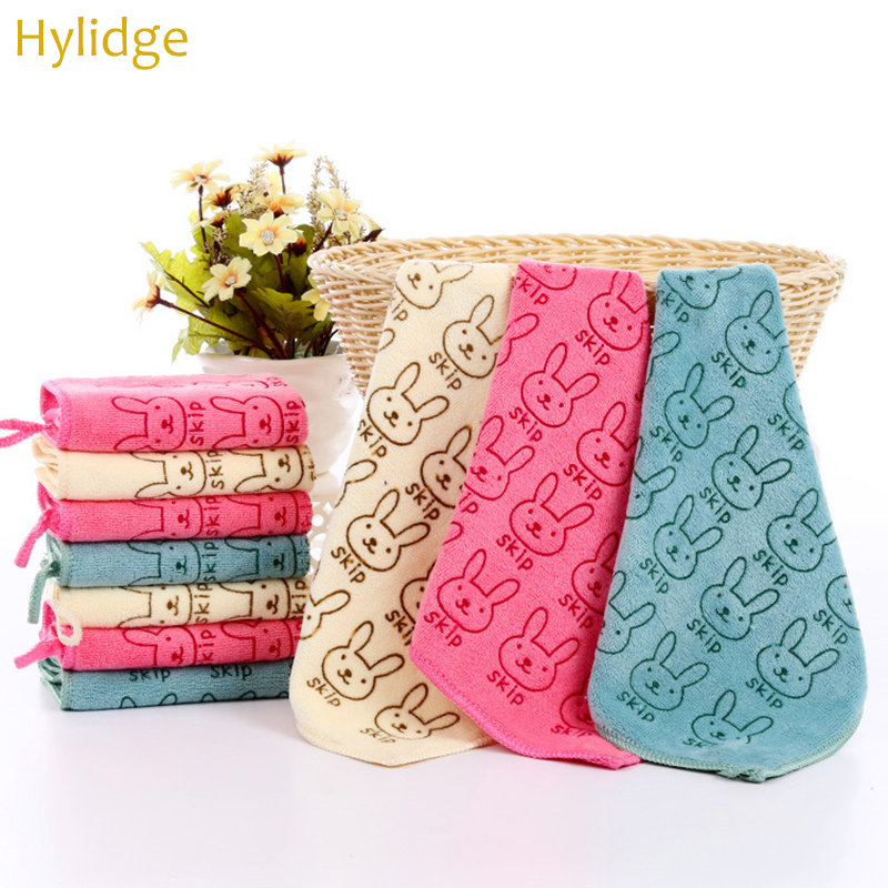 Hylidge 25*25CM Hook Type Microfiber Baby Face Towel Printing Kids Handkerchief Toddler Infant Small Square Towel Saliva Tow