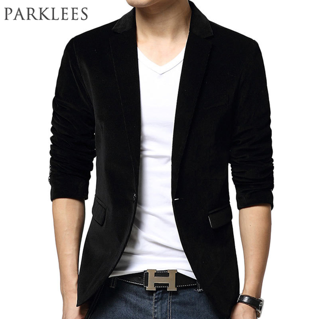 ef5f4827063 New Black Blazer Men Autumn Winter Fashion Design Mens Slim Fit Blazer  Jacket Brand Single Button