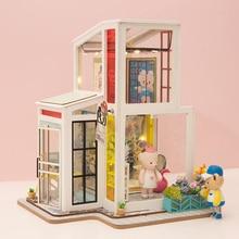 Robud DIY кукольный домик миниатюрная Фотогалерея Microcosm деревянные комплекты кукольных домиков милый дом с 2 кукольными игрушками для детей подарок для девочки