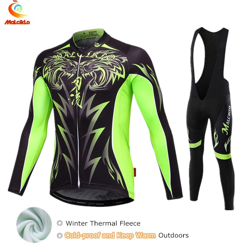 2019 Fluo Green Fleece Winter Cycling Jersey Men's Long Sleeve Bicycle Maillot Cycling Clothing Bike Wear Ropa Ciclismo Invierno-in Cycling Sets from Sports & Entertainment    1