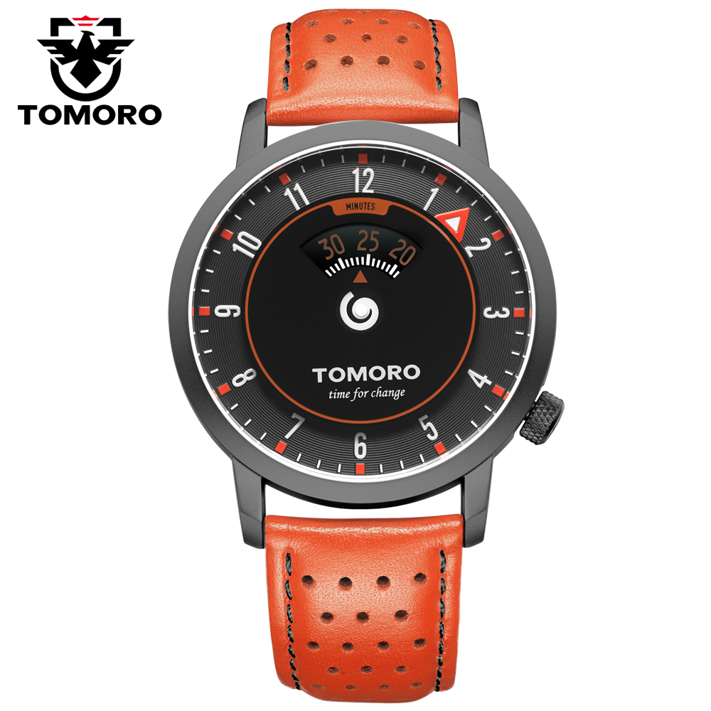 TOMORO New Original Inspired By Time Speed Indcator Japan Quartz Breathable Genuine Leather Unique Casual Gift