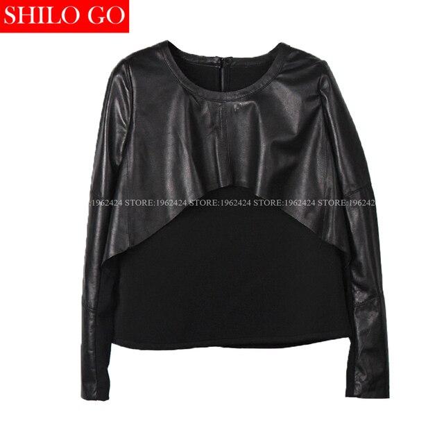 Plus size 2017 outono inverno moda feminina de alta qualidade da pele de carneiro 3XL camisa em torno do pescoço camisa de malha preta
