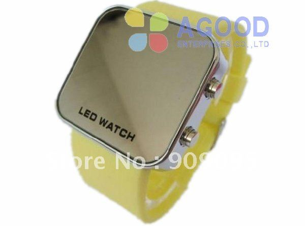 50pcs Metal Led Mirror watch Stainless steel Candy Silicone Fashion watches For women/men 12 colors  SW08