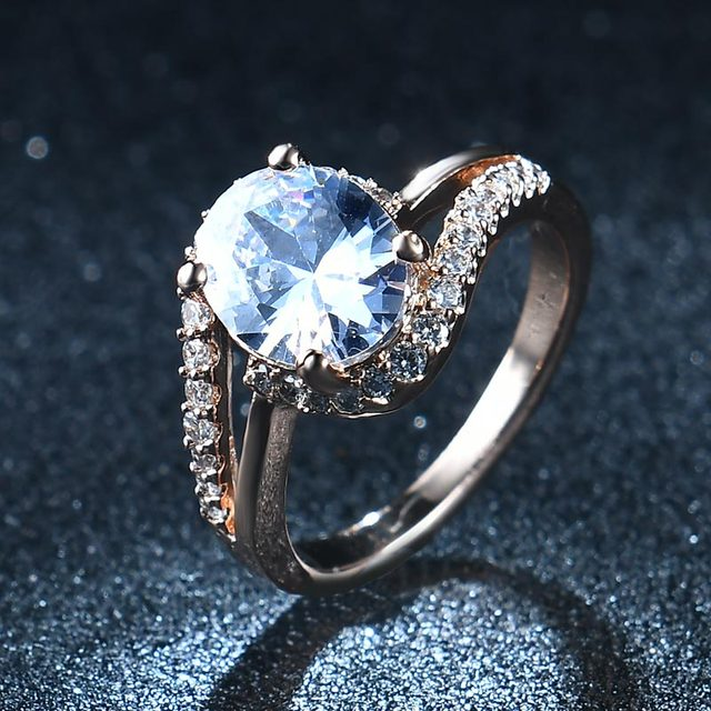 NEW 2017 AAA Zircon Crystals wedding rings for women rose gold color engagement rings female anel fashion Jewelry top quality