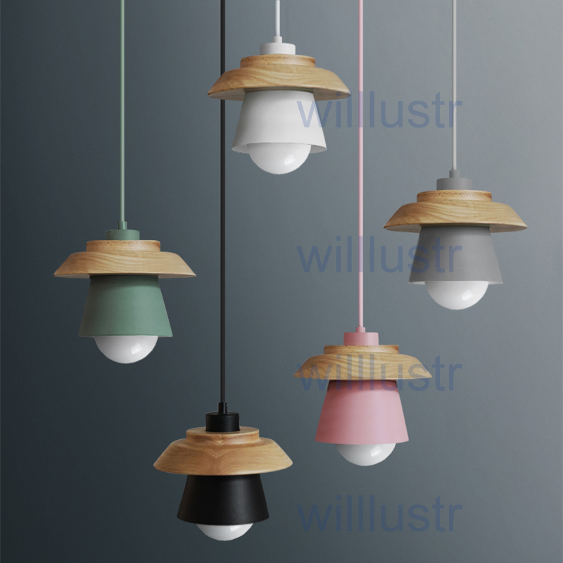 willlustr pendant light suspension lamp modern lighting art deco natural nordic hanging lights wood metal macarons pink green цена