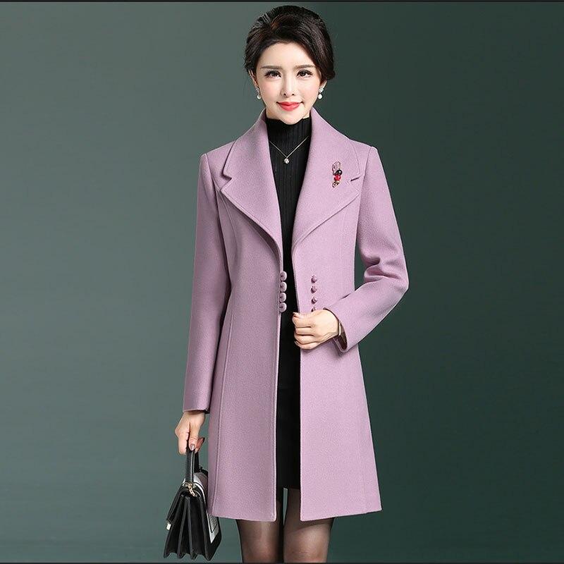 Matka jesień nowy wełniany płaszcze kobiety w średnim wieku elegancki długi kaszmirowy płaszcz kobiet szczupła wełniana kurtka duży rozmiar L 4XL HS319 w Wełna i mieszanki od Odzież damska na  Grupa 2