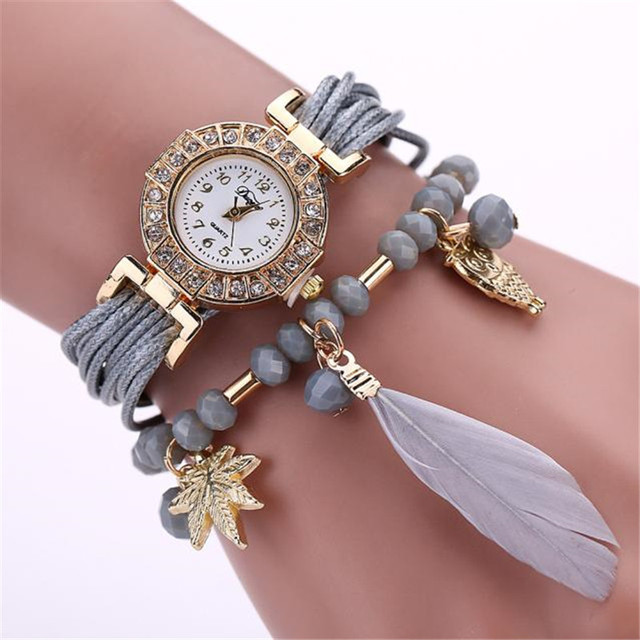 Fashion Chain Watch Feather Weave Wrap Around Bracelet Watch Crystal Synthetic W