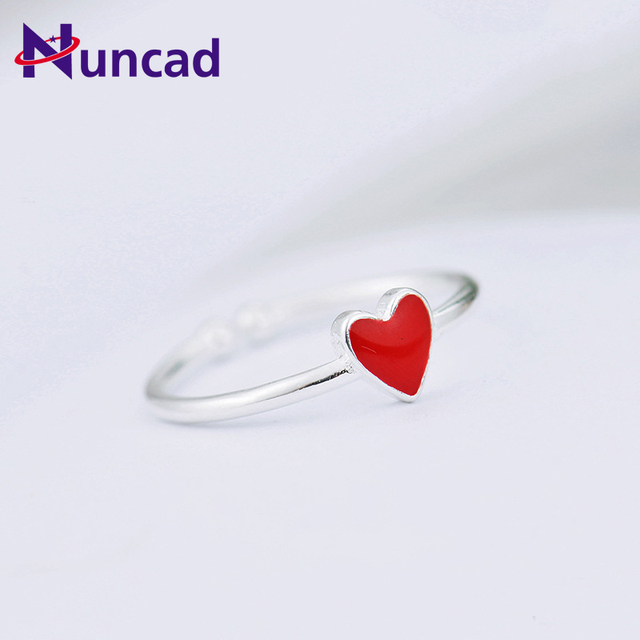 New Hot Vintage Red Heart Rings for Women Adjustable Small Heart Ring Set Party