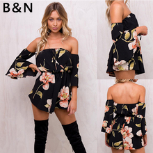 2018 NEW Summer Printed Flare Sleeve Sexy Off Shoulder Backless Chiffon Jumpsuit Boot  Cut Strapless Romper