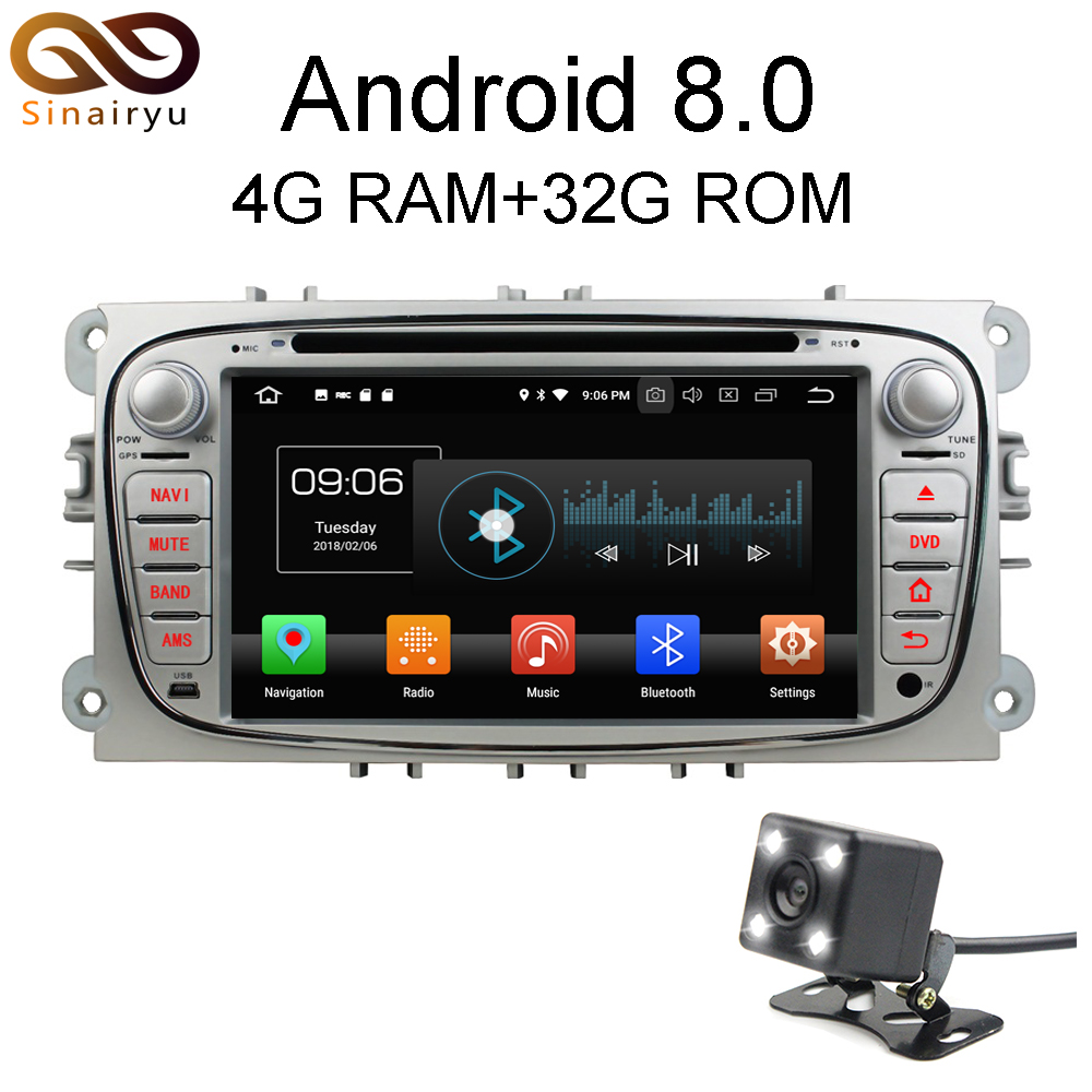 Sinairyu 1024*600 4GB RAM Android 8.0 Octa Core Car DVD Player GPS Navi For Ford Focus Galaxy with Audio Radio Stereo Head Unit цена 2017