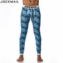 JOCKMAIL Brand Men Long Johns Cotton Printed Sexy Mens Long Pants Bottoms Pajama Low Waist Tight Legging Pouch Warm Long Johns
