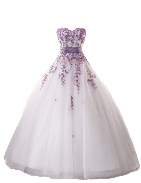 New Elegant Lilac Lace Wedding Dress 2016 Sweetheart Ball Gown Bridal Dresses Up